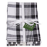 3 Black Jumbo Check Tea Towels