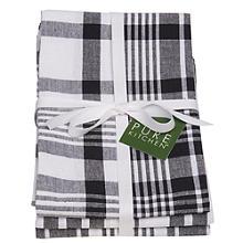 3 Black Jumbo Check Tea Towels