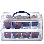 2 Tier Cake Carrier Caddy & Lid - Oblong Holds 24 Cupcakes