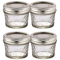 4 Ball Regular Mouth Quilted Crystal Mason Preserving Jars 135ml