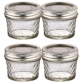 4 Ball Regular Mouth Quilted Crystal Mason Preserving Jars 135ml alt image 1