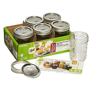 6 Ball Regular Mouth Quilted Crystal Mason Preserving Jars 240ml alt image 12
