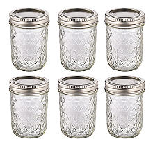 6 Ball Regular Mouth Quilted Crystal Mason Preserving Jars 240ml