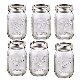6 Ball Regular Mouth Mason Preserving Jars 490ml alt image 1