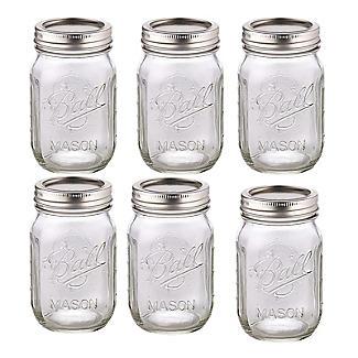 6 ball mason standard glass jam jars lids 490ml lakeland. Black Bedroom Furniture Sets. Home Design Ideas