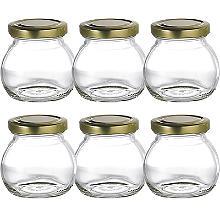 6 Globe Small Gifting Glass Jam Jars & Lids 212ml
