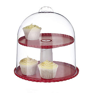 2 Tier Cupcake & Cake Display Stand With Clear Lid - Holds 22cm Cakes