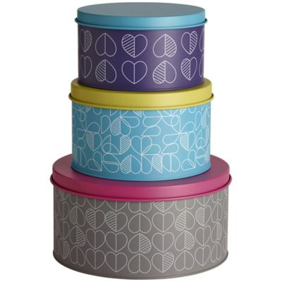 3 Lidded Nesting Round Cake & Biscuit Storage Tins  Hearts Design