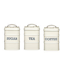 Living Nostalgia Antique Cream Tea, Coffee & Sugar Caddies