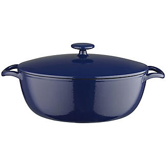 30cm Midnight Blue Oval Cast Iron Casserole
