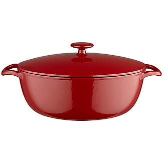 30cm Paprika Red Oval Cast Iron Casserole
