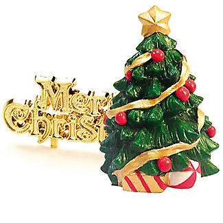 Large Christmas Tree Cake Topper with Christmas Motto – 2 Piece Set