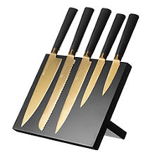 Viners Titan Gold 5pc Kitchen Knife Set & Magnetic Knife Rack