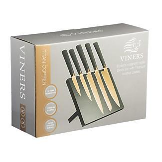 Viners Titan Copper 5pc Kitchen Knife Set & Magnetic Knife Rack alt image 2