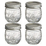4 Ball® Fruit Design Small Glass Jam Jars and Lids 240ml