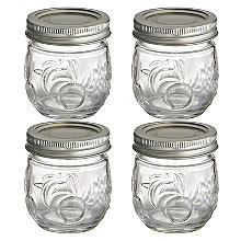 4 Ball Fruit Design Small Glass Jam Jars and Lids 240ml