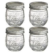 4Kleine Ball® Marmeladengläser mit Deckel & Obst-Design, 240Ml