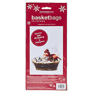 6 Clear Christmas Hamper Basket Bags 40 x 45cm