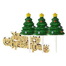 Mini Christmas Tree Cake Toppers and Christmas Motto - 4 Piece Set