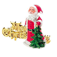 Father Christmas Cake Topper with Merry Christmas Motto - 2 Piece Set