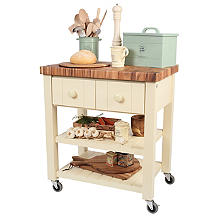 T&G New England Trolley with Acacia Worktop