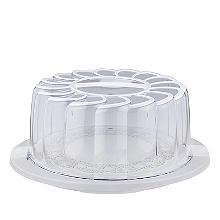 Torten-Transportbox mit weißem Spitzendeckchen – rund, für Torten mit 28cm Ø