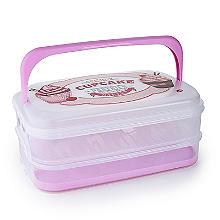 Transportbox mit 2 Etagen für Blechkuchen und Cupcakes – rechteckig, für 24 Cupcakes