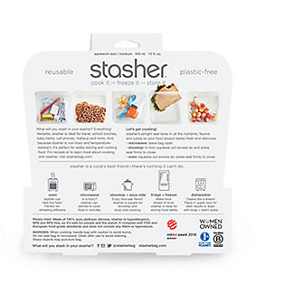 Stasher Reusable Food Storage Bag Clear - Sandwich Bag Size 450ml alt image 5