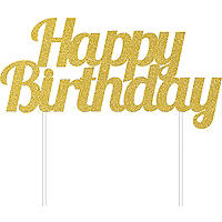 Golden Glitter Happy Birthday Cake Topper