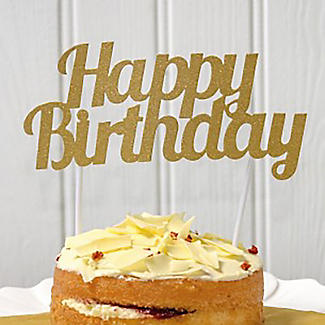 Golden Glitter Happy Birthday Cake Topper alt image 2