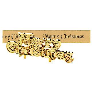 Gold Merry Christmas Cake Topper and Cake Ribbon Set alt image 3