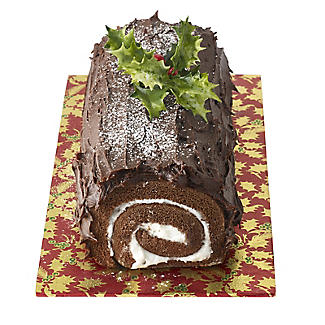 Holly Design Yule Log Cake Board - Red and Gold 12cm x 25cm alt image 3