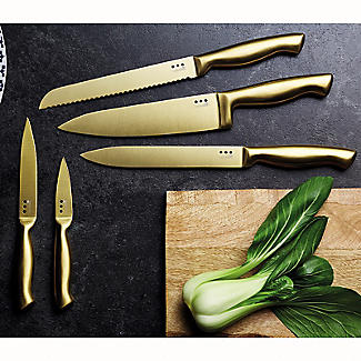MasterClass 5-Piece Brass-Coloured Stainless Steel Knife Set and Block alt image 7