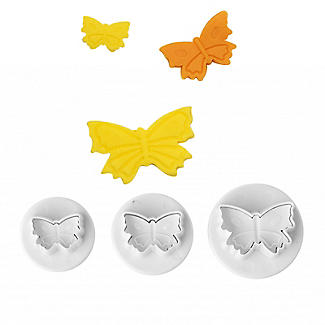 3 Mini Fondant Icing Cutters Butterfly Shaped