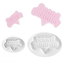"2 Mini-Fondantausstecher ""Happy Birthday"""