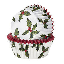 Talking Tables Botanical Holly Christmas Cupcake Cases 30 Pack