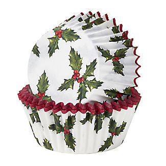Talking Tables Botanical Holly Christmas Cupcake Cases 30 Pack alt image 1