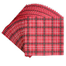 Talking Tables Botanical Holly Christmas Red Tartan Paper Napkins x 20