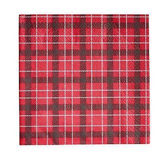 Talking Tables Botanical Holly Christmas Red Tartan Paper Napkins x 20 alt image 3