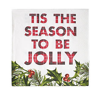 Talking Tables Botanical Holly Christmas Paper Cocktail Napkins x 20 alt image 2