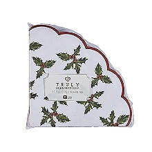 Talking Tables Botanical Holly Christmas Scallop Paper Napkins x 20
