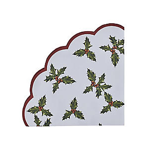 Talking Tables Botanical Holly Christmas Scallop Paper Napkins x 20 alt image 2