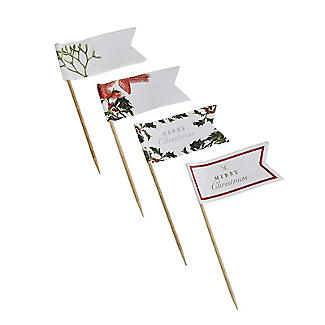 Talking Tables 24 Botanical Holly Canape Picks with Flags