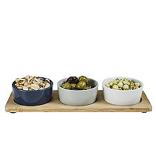3 Piece Dip Bowls On Tray