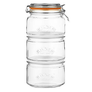 Kilner Stackable Glass Storage Jar Set – 900ml and 2 x 880ml alt image 2
