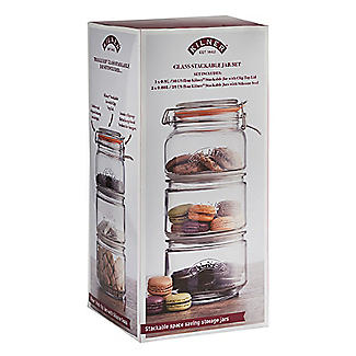 Kilner Stackable Glass Storage Jar Set – 900ml and 2 x 880ml alt image 6