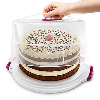 2 in 1 Height Adjustable Cake Carrier Caddy - Round Holds 30cm Cakes alt image 2