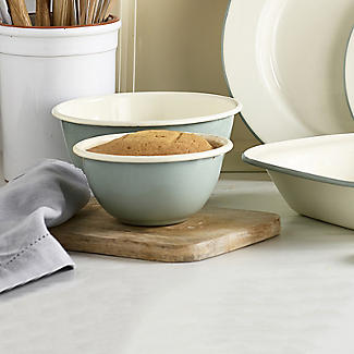 Mary Berry with Lakeland Cream and Green Enamel Pudding Basin 17cm alt image 2