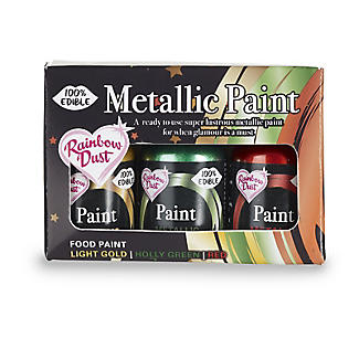 Rainbow Dust Edible Metallic Food Paint Colours - Set of 3