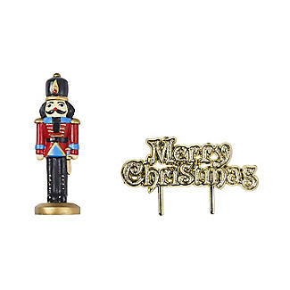 Nutcracker Resin Cake Topper and Christmas Motto